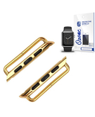 Metal Band Axle Connector Clasp with Screen Protector for Apple Watch 38mm Gold