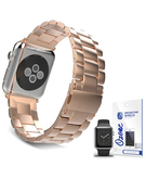 Stainless Steel Band Strap with screen protector for Apple Watch 38mm Rose Gold