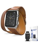 PU Leather Band Strap Double Tour with screen protector for Apple Watch 38mm Brown