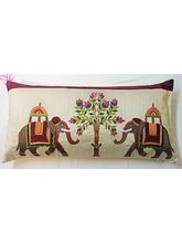 Hand Embroidered Silk Cushion Covers., Elephant