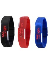 Shree Shopee Digital Led Rubber Watch - Combo Of 3 (SH130)