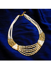White And Golden Beads Neck Piece