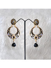 Black Jadau Earing With White Beads