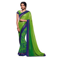 Triveni Fabulous Green Colored Border Worked Shimmer Georgette Saree