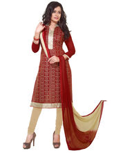 Secondarybazaar Embroidered Attractive Dress Material (SB329D1001), red