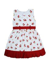 Jazzup Girl's Cotton Printed Frock (KZ-SRB1204S20), white and red, 6 - 7 years