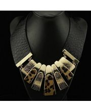 Pure Leather Necklace With 18k Gold Plated Chunks