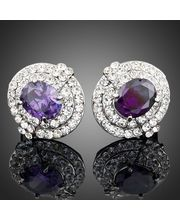 Platinum Plated Rare Purple Austrian Crystal With Swarovski Elements Earrings