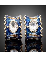 18k Gold Plated Austrian Crystal & Painted Style Earrings