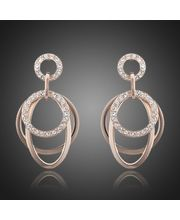 18k Real Rose Gold Plated & Swarovski Studded Oval Shaped Concentric Style Earrings