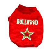 Rays Fleece Warm Rubber Print Tshirt for Toy Breed Dogs, 10 inch, red bollywood