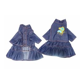 Zorba Party Wear Denim Dress for Puppy to Toy Breed Dog, blue