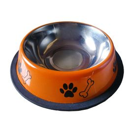 Canine Designer Printed Stainless Steel Bowl for Dogs & Cats, orange, small