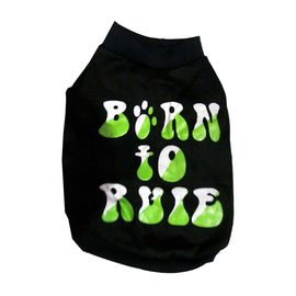 Rays Fleece Warm Born to Rule Rubber Print Tshirt for Toy Breed Dogs, 12 inch, navy blue