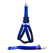 Canine Nylon Padded Body Harness Set for Large Dogs, blue