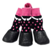 Puppy Love Anti-Slip Waterproof Sock Shoes for Medium to Large Breed Dogs, pink polta dots, large