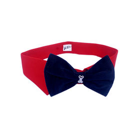 Zorba Designer Fancy Collar with Bow for Dogs, small, red