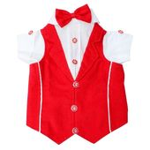 Zorba Red And White Party Suit for Medium Breed Dogs, 24 inches