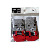 Puppy Love Anti Skid Socks for Medium Breed Dogs, red teddy