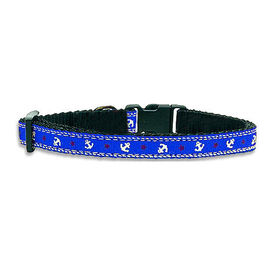 Kennel Designer Anchor Printed Adjustable Collar & Leash for Small Dogs, blue
