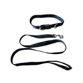 Kennel High Quality Nylon Collar with Lead Set for Medium to Large Dogs, black