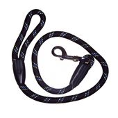 Super Dog Thick Imported Nylon Rope Lead for Large to Giant Dogs, black, 72 inch