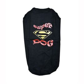 Zorba Designer Sports Collection Tshirt for Small Breed Dogs, black superdog, 18 inch