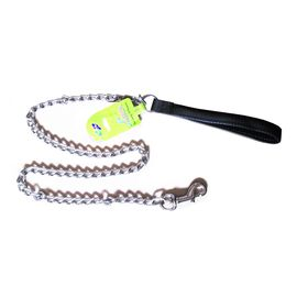 Canine Metal Chain Leash with Padded Nylon Handle, black, 1 inch