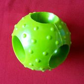 Canine Solid Rubber Snack Treat Ball Dog Toy, medium, green