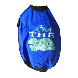 Rays Fleece Warm I am Boss Tshirt for Medium Dogs, 22 inch, blue