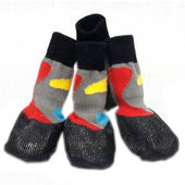 Puppy Love Anti-Slip Waterproof Sock Shoes for Toy Breed Dogs, grey, extra small