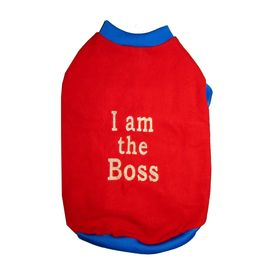 Rays Fleece Warm I am Boss Tshirt for Small Dogs, 18 inch, red