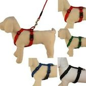 Canine Nylon Padded Body Harness Set for Medium Dogs, red