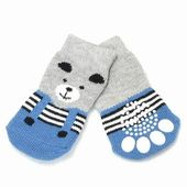 Puppy Love Anti Skid Socks for Small Breed Dogs, blue teddy, small