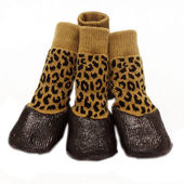 Puppy Love Anti-Slip Waterproof Sock Shoes for Medium to Large Breed Dogs, yellow cheetah, large