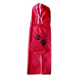 Rays Deluxe Printed Raincoat for Small Dogs, paws, 18 inch, red