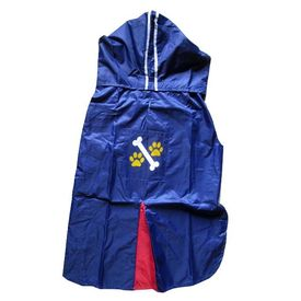 Rays Deluxe Printed Raincoat for Large Dogs, bone paw, 26 inch, navy blue