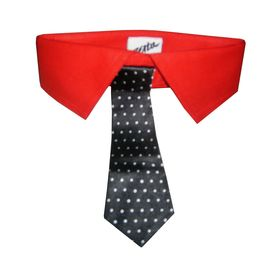 Zorba Designer Fancy Collar with Tie for Dogs, small, red