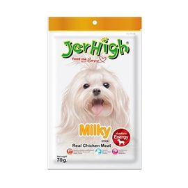 JerHigh Milky Real Chicken Meat Plus Dog Treat, 70 gms