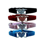 Puppy Love Heart Studded Crystal Rhinestone Velvet Collars for Cats, black
