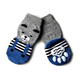 Puppy Love Anti Skid Socks for Small to Medium Breed Dogs, blue teddy, medium