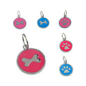 Rodium Circular Collar Pendant for Pets, sky blue