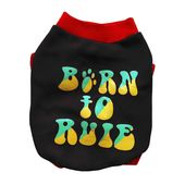 Rays Fleece Warm Rubber Print Tshirt for Toy Breed to Small Dogs, black born to rule, 14 inch