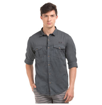 HUMBER GREY Slim Fit Solid Shirt,  grey, l