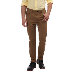 Breakbounce Boma Slim Fit Solid Trousers,  mud brown, 34