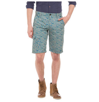 PROCTOR LIME GREY Slim Fit Printed Shorts,  grey, 38