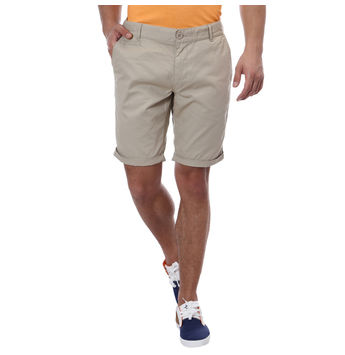 Breakbounce Alfred Slim Fit Solid Shorts,  beige, 36