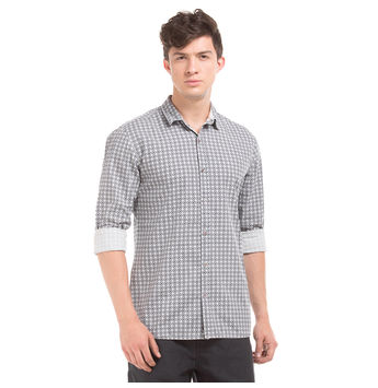 TRYON LT GREY Slim Fit Printed Shirt,  cream, m