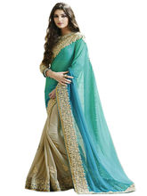 Try n Get Party Wear Designer Saree, firozi