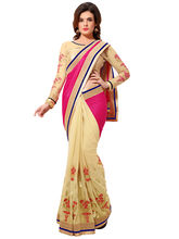 Try n Get Lycra and Georgette Fancy Designer Saree, pink and cream
